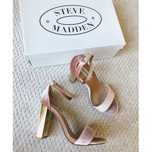 Steve Madden Blush Pink + Gold Velvet Sandals